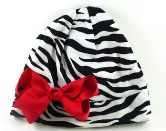 Baby Beanie.Infant Beanie.Newborn Beanie.Baby Girl Beanie.Newborn Hat.Baby Hat.Bow Beanie.Cotton Hat.Zebra Beanie.Cotton Beanie with Bow