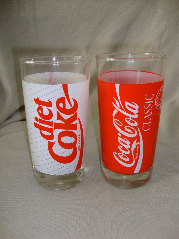 Vintage Diet Coke Coca Cola Classic Glasses Original Formula