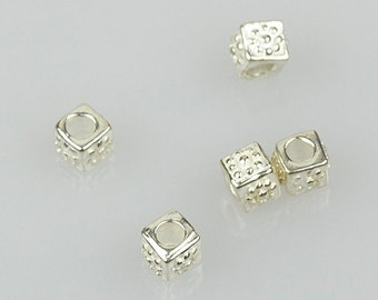 925 Sterling Silver Cube Beads, 5x4mm, 2mm Hole, Pkg of 1 pc, F0GY.SI06.P01