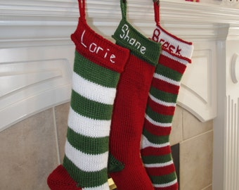 Red Hand Knit Christmas Stocking-Christmas, Holiday, Hanging Stocking, Hand Knit, Striped or Solid Custom Order Color - Ready to ship
