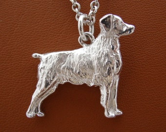 Large Sterling Silver Brittany Standing Study Pendant