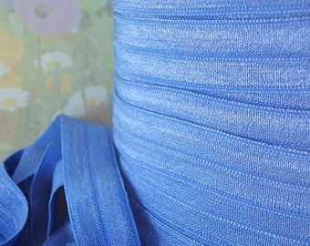 5yd Elastic Ribbon Fold Over 5/8 inch 15mm FOE Blue Stretch Trim DIY HeadBands Ponytail hair ties underwear Lingerie Diapers Swimsuits MB2