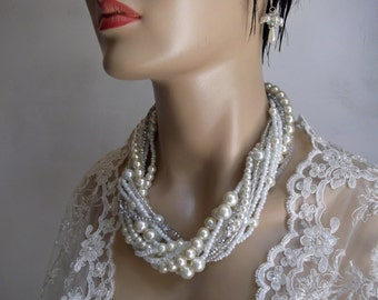 Chunky Layered Ivory Pearl Necklace with Rhinestones brides, Wedding Necklace, Bridal Necklace