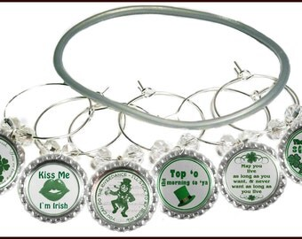 St. Patrick's Day Wine Charms - Bottle Cap Wine Charms - St. Patrick's Day Gifts - St. Patrick's Day Wine Glass Markers