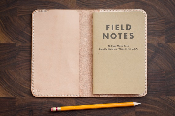 """Notebook Cover, 3.5 x 5.5"""", hand stitched leather - natural veg"""