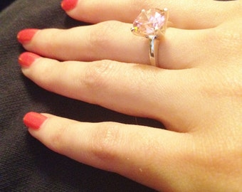 Pink Cubic Zirconia Ring in Sterling Silver