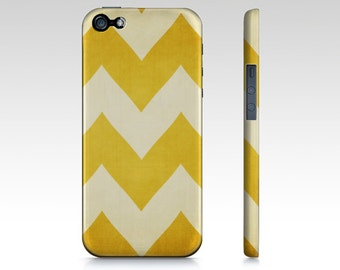 1932   - Yellow Chevron - Iphone, Samsung Galaxy S3 & S4 Case - Sunny, Bright,  Zig Zag, bright, tech, apple, iPhone 5, iPhone 4s, gold