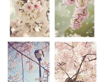 SET OF 4  - Photographic Print - Cherry Blossom, Spring, Nursery, Baby, Girl, Romantic, Blue, Sky, pink, shabby, cottage, decor, art