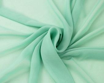 Green Mint Solid Hi-Multi Chiffon Fabric by the Yard, Chiffon Fabric, Wedding Chiffon, Lightweight Chiffon Fabric - Style 500