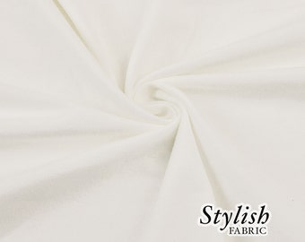 Off White Cotton Lycra Jersey Knit Fabric Combed 10oz Cotton Stretch Cotton Spandex Fabric by the Yard - 1 Yard Style 451