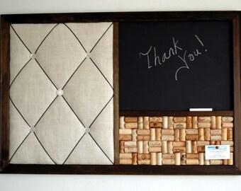 Large Wine Corkboard, Chalkboard & French Memo Board Wall Organizer 24x36