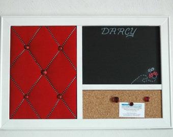 Ladybug Red French Memo Board,  Corkboard, & Chalkboard  Wall Organizer