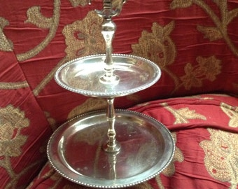 French Country Provence Fleur de lis Two Tier cake stand