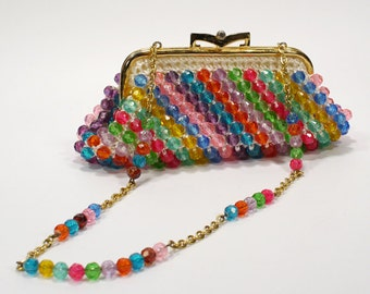 Vintage 1960s Ladies Beaded Shoulder Purse - Multi-Color with Matching Coin Purse - Large Beads - Green, Red, Yellow, Purple, Blue, Pink