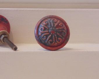 Red Distressed Ceramic Knob Dresser Drawer Pulls-Coat Rack-Shabby Chic-Set of 2-Floral Design