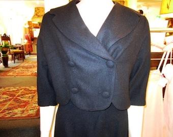 Petite Size Vintage Black Wool Suit, ca 1950s
