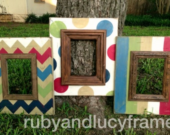 set of three 5x7 distressed frames in weathered primaries-- chevron, stripe, & polka dot