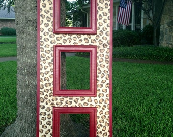 distressed 8x10 triple opening frame--custom hand painted leopard with red trim