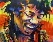 """Jimi Hendrix, Marta Zawadzka, large size, Original Acrylic Painting 36,2""""x 45,7"""""""