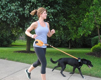 Hands Free Leash that holds dog bags, personal items, and pet waste in separate compartments, hands free and reflective!