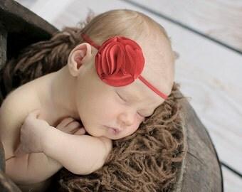 Red Baby Headband Newborn Photo Prop Petite Headband Skinny Elastic