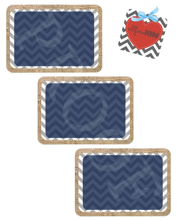 Instant Download Burlap Chevron Blank Gift Tags Navy