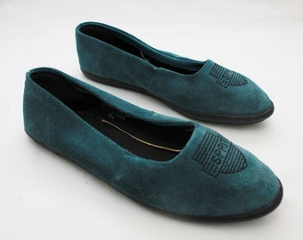 "Rare 80's Vintage ""ESPIRIT"" Monogram Leather Loafers Sz: 6.5"