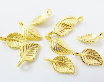 10 Mini Leaf Charms - 22k Matte Gold Plated