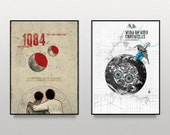 1Q84 and Wind Up Bird Chronicles - two art A3 posters inspired by Haruki Murakami books