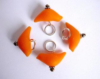Orange bird knitting stitch markers for snagfree knitting, knit stitch markers, sculpted polymer clay - UK seller