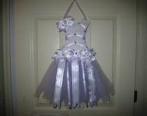 "NEW ""PURPLE & WHITE"" Hair Bow Holder Tutu Dress Ribbon Hairbow Door Display Storage Girls Baby Shower Gift"