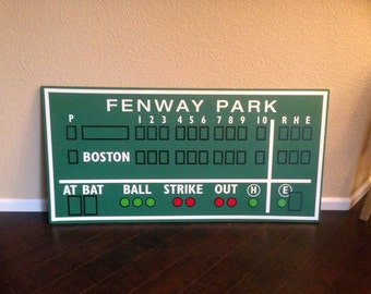 Boston decor, Fenway Park, Green Monster score board baseball scoreboard