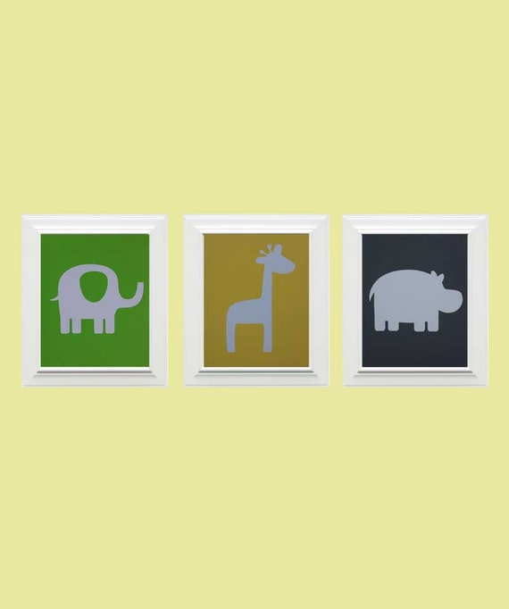 Set of 3-Custom Safari Picture, Elephant, Giraffe, Hippo, Children's Wall Art, Nursery Art, Animal Art -Lime Green, Light Yellow, Lime Green
