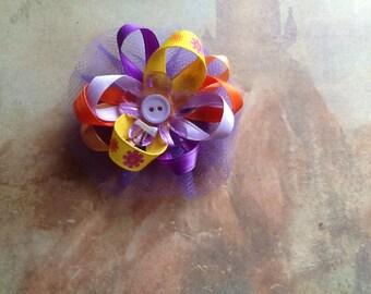 Purple multicolor loopy bow