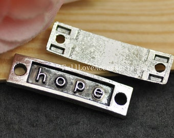 10pcs Antique Silver Plated Rectangle Hope Charm Connector - Hope Tag Charm Connector 10x36mm
