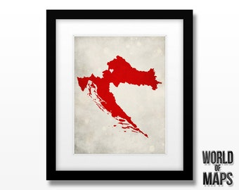 Croatia Map Print - Home Town Love - Personalized Art Print Available in Different Sizes & Colors