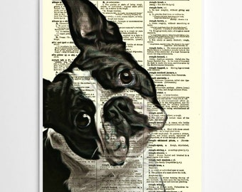 Boston Terrier Dictionary Art Print, Wall Decor, Art Print, Dictionary Page Art, Home Decor