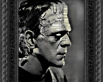 Frankenstein's Monster Printed On An Upcycled 1897 Dictionary Page, Halloween Decor, Dictionary Art Print, Halloween Party Decor
