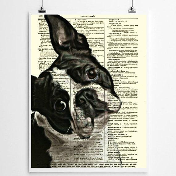 Boston Terrier Dictionary Art Print Wall Decor Art Print