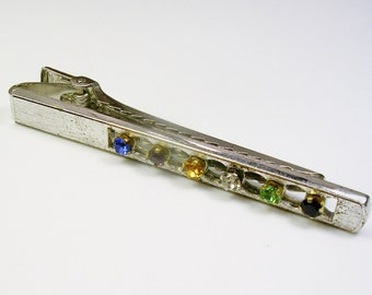 Vintage Streling Silver ANSON Colorful Rhinestone Tie Clip Clasp Bar Wedding Jewelry Men's Gift Formal Wear
