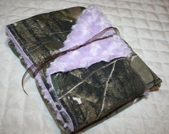 Camo and purple minky baby blanket- light purple swirly minky dot and realtree camo camouflage baby girl blankey