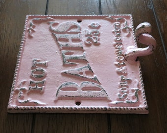 Shabby Chic Bathroom Hook / Cast Iron Sign / Towel Wall Hook / Pale Pink /Distressed/ Metal Wall Hook /Bathroom Hook / Fixture