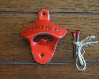 Apple Red Bottle Opener / Cast Iron /Vintage Inspired / Mancave /Kitchen Decor/Gameroom/Patio/Groomsman Gift/Stocking Stuffer