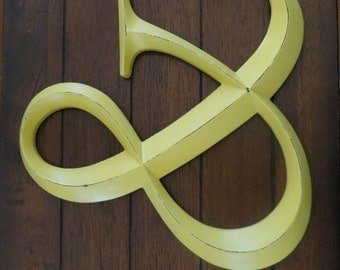 Ampersand Decor / Wedding Sign / AND Symbol Hanging / Large Wall Letter / Wedding Photo Booth Prop / Lemon Yellow or Pick Color/ Pick Letter