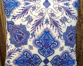 "45cm or 18 inches Square Cushion Cover/ pillow in ""Lord Paisley in Blue"" from Liberty of London"