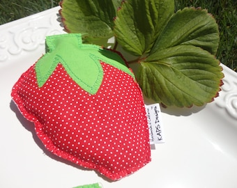 SIX Strawberry Beanbags, bean bags for play or parties