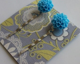 Robin's Egg Blue Flower Hair Clips