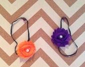 Halloween Infant Headband- Purple, Orange Shabby Chiffon Flowers, Pearl Center