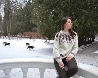 "PDF Knitting Pattern Lopapeysa Women's Sweater "" STAG BEETLE"" 100% Icelandic Lett Lopi Wool"