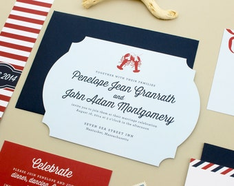Nautical Wedding Invitation, Navy Wedding Invites, New England Wedding,  Lobster Invitation, East